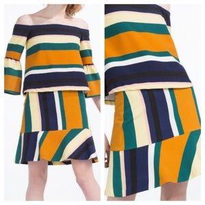 Zara Trafaluc Striped Flounce Ruffle Mini Skirt